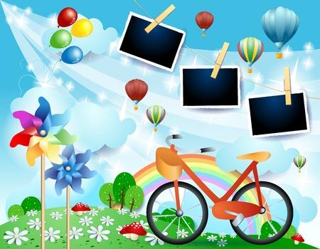 Illustration pour Country landscape with bike and photo frames, vector illustration eps10 - image libre de droit
