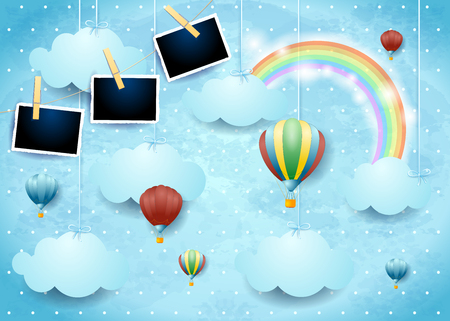 Illustration pour Surreal sky with hot air balloons and photo frames. Vector illustration eps10 - image libre de droit