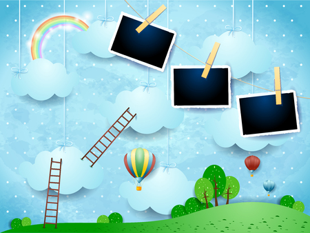 Illustration pour Surreal landscape with ladders, balloons and photo frames. Vector illustration eps10 - image libre de droit