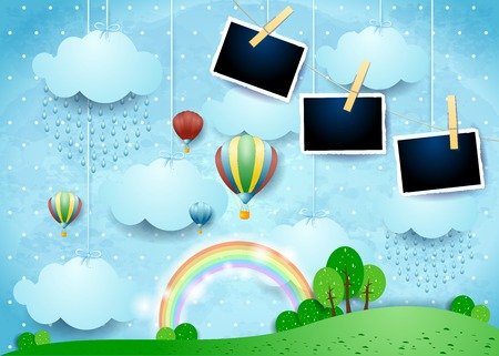 Illustration pour Surreal landscape with balloons, rain and photo frames. Vector illustration eps10 - image libre de droit