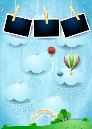 Illustration pour Surreal landscape with rain, balloons and photo frames. Vector illustration eps10 - image libre de droit