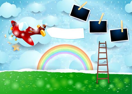 Illustration pour Surreal paper landscape with airplane, banner and photo frames. Vector illustration eps10 - image libre de droit