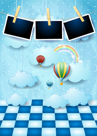 Illustration pour Surreal landscape with floor, balloons, hanging clouds and photo frames. Vector illustration eps10 - image libre de droit