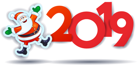 Ilustración de Funny Santa Claus and text, New Year illustration. Vector eps10 - Imagen libre de derechos