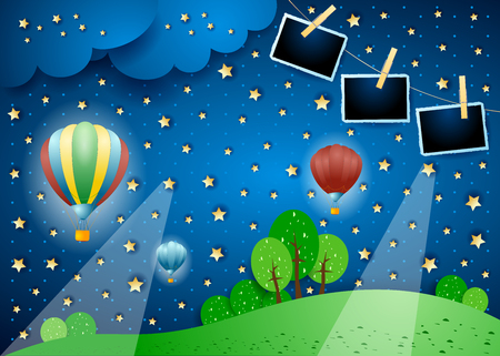 Illustration pour Surreal landscape by night with balloons and photo frames. Vector illustration eps10 - image libre de droit