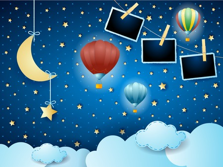 Illustration pour Surreal night with hanging moon, balloons and photo frames. Vector illustration eps10 - image libre de droit