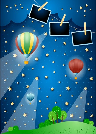 Illustration pour Surreal night with spotlights, balloons and photo frames. Vector illustration eps10 - image libre de droit