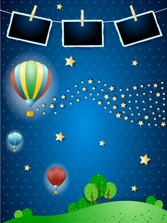 Illustration pour Surreal night with balloons, wave of stars and photo frames. Vector illustration eps10 - image libre de droit