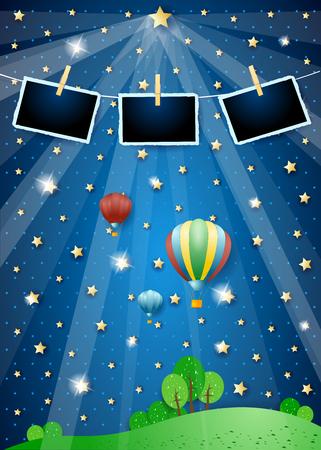 Illustration pour Surreal landscape with spotlights, balloons and photo frames. Vector illustration eps10 - image libre de droit