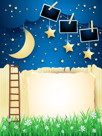 Illustration pour Surreal landscape with starway, moon and photo frames. Vector illustration eps10 - image libre de droit