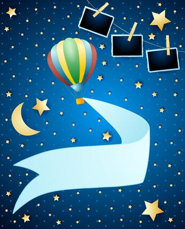 Illustration pour Night landscape with balloon, banner and photo frames. Vector illustration eps10 - image libre de droit