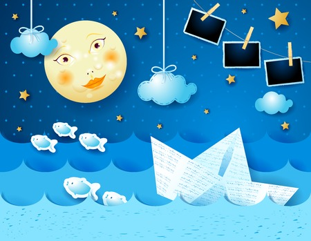 Illustration pour Surreal seascape with full moon, paper boat and photo frames. Vector illustration eps10 - image libre de droit