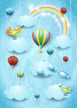 Illustration pour Surreal cloudscape with hot air balloons, birds and flying fishes. Vector illustration - image libre de droit