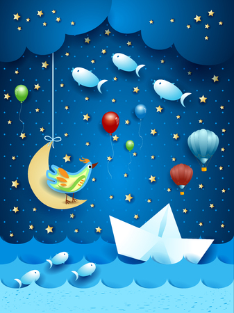 Illustration pour Surreal seascape by night, with paper boat and flying fishes. Vector illustration eps10 - image libre de droit