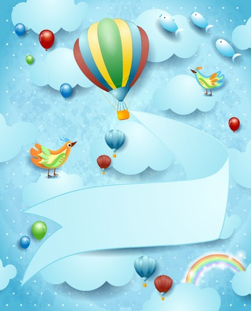 Illustration pour Surreal landscape with hot air balloon, banner and flying fishes. Vector illustration eps10 - image libre de droit
