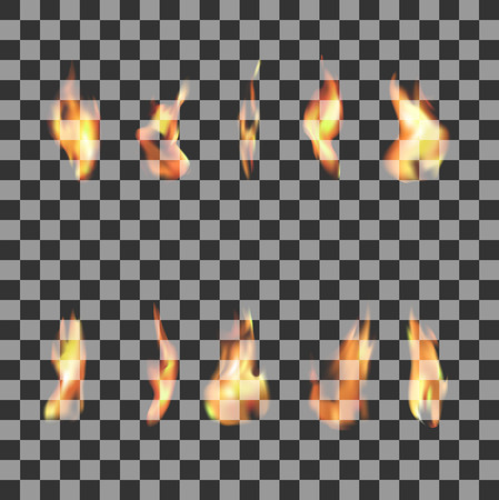 Illustration for Set of 10 transparent fire flames - Royalty Free Image