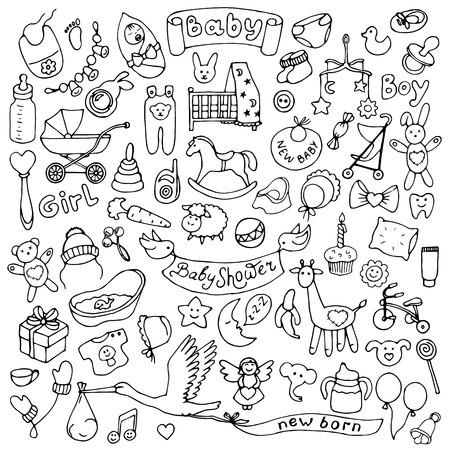 Ilustración de Baby hand drawn doodle set - Imagen libre de derechos