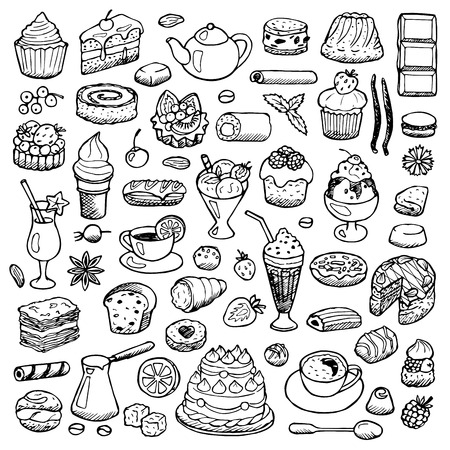 Illustration pour Cafe Set hand drawn doodle elements - image libre de droit