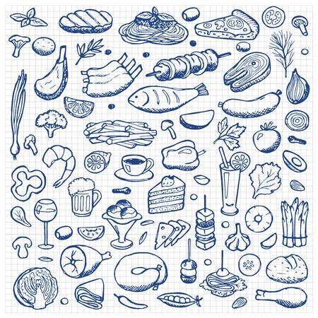 Illustration pour Set hand drawn doodle food and drink elements - image libre de droit