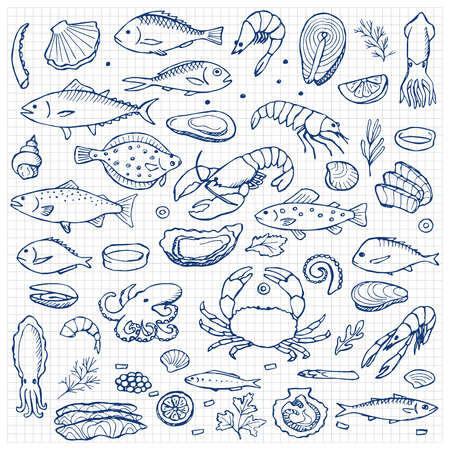 Photo for Seafood hand drawn doodle elements - Royalty Free Image