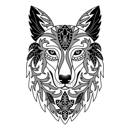 Illustration pour Ornamental Wolf. Vector illustration for textile prints, tattoo, web and graphic design - image libre de droit