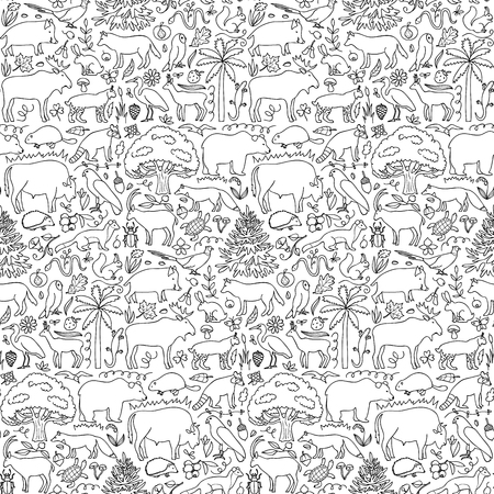 illustration of seamless pattern with European animals and plants