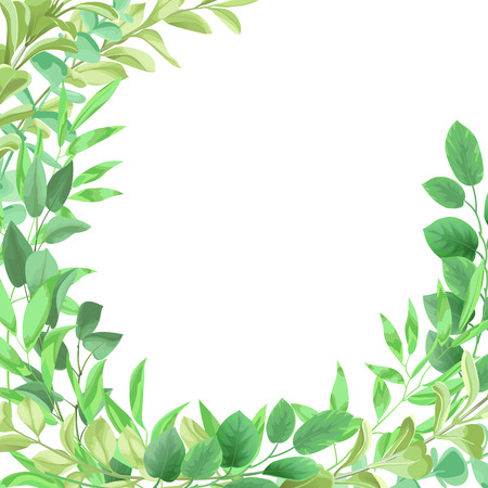 Ilustración de Template frame from greenery leaf illustration on white background. - Imagen libre de derechos