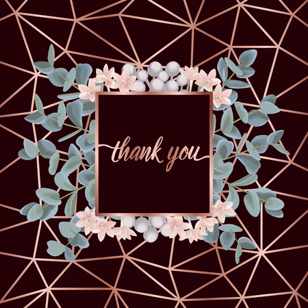 Illustration for Thank You Card with Eucalyptus - Royalty Free Image