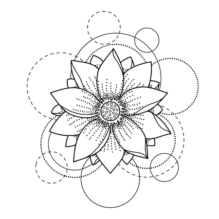 Foto de Tattoo with lotus and circles on white background - Imagen libre de derechos