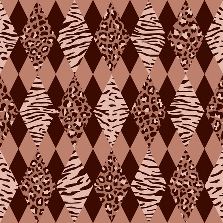 Animal Pink and Maroon Geometric Seamless Pattern