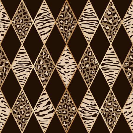 Animal Beige and Brown Geometric Seamless Pattern