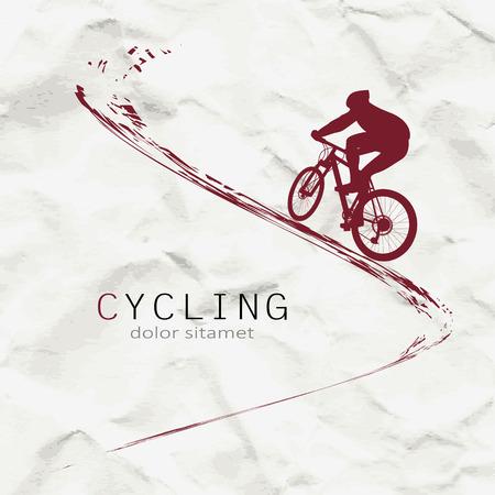Illustrazione per Cyclist on the background of crumpled paper - Immagini Royalty Free