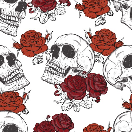 Illustration pour vector seamless with roses and skulls skull - image libre de droit