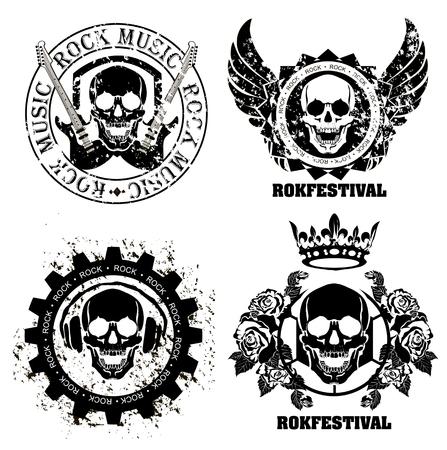 Illustration pour Set of logos rock music and recording studios. Music design elements with font type and illustration vector. Vintage label Rock Beast - image libre de droit