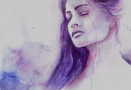 Foto de Watercolor beautiful girl in a state of depression crying - Imagen libre de derechos