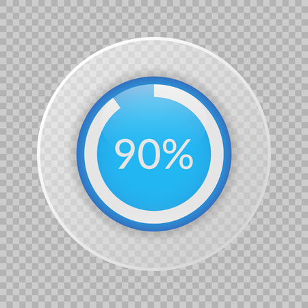 Illustration pour 90 percent pie chart on transparent background. Percentage vector infographics. Circle diagram isolated. Business illustration icon for marketing project, finance, financial report, web design - image libre de droit