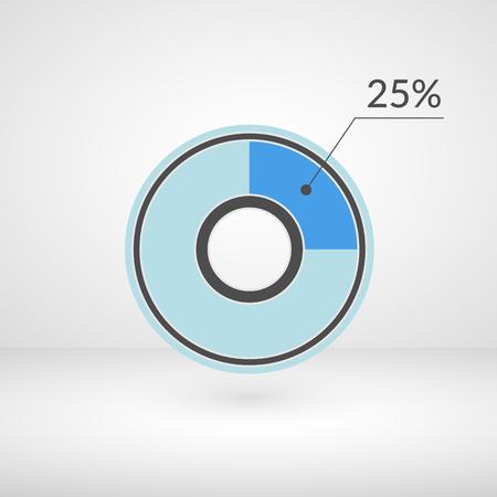 Illustration pour 25 percent pie chart isolated symbol. Percentage vector infographics. Circle diagram sign. - image libre de droit