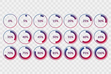 Illustration pour 0 5 10 15 20 25 30 35 40 45 50 55 60 65 70 75 80 85 90 95 100 percent pie chart symbols on transparent background. Percentage vector, infographic circle icons for download - image libre de droit
