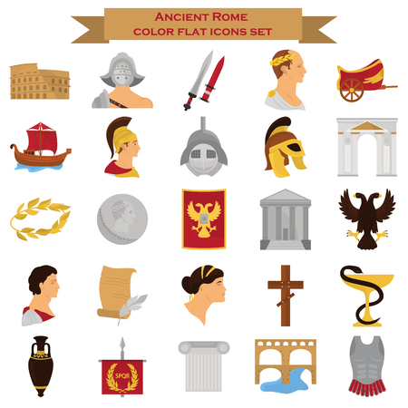Illustration for Ancient rome color icons srt for web and mobile design - Royalty Free Image