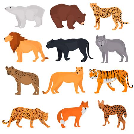 Foto de Set of wild predators color flat icons - Imagen libre de derechos