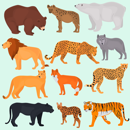 Photo pour Set of wild predators color flat icons - image libre de droit