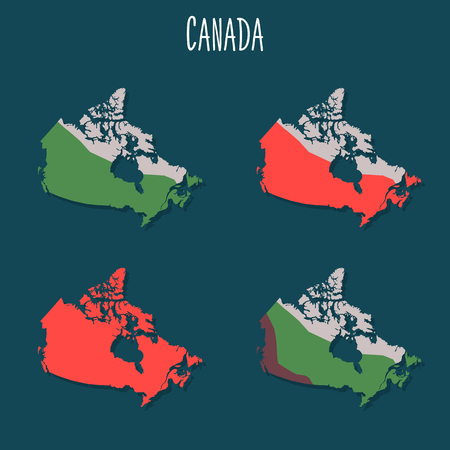 Illustration pour Canada territory variations color flat illustrations set - image libre de droit