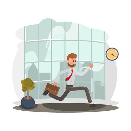 Ilustración de Running office worker color flat illustration - Imagen libre de derechos