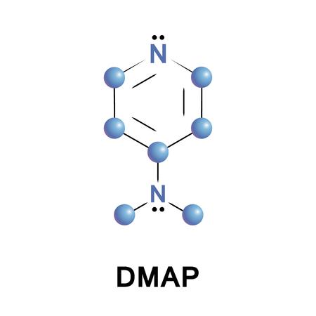 Illustration pour 4Dimethylaminopyridine DMAP is a derivative of pyridine. This colourless solid is of interest because it is more basic than pyridine - image libre de droit