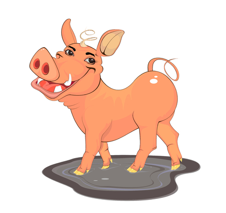 Ilustración de Illustration of a young smiling boar standing sideways in a puddle on a white background - Imagen libre de derechos