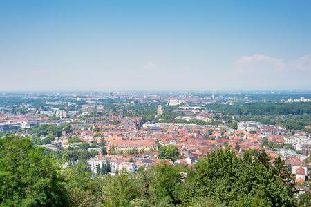 Foto de Magnificent view on Karlsruhe from top of Turmberg, Germany - Imagen libre de derechos