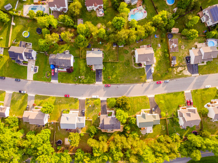 Photo for Aerial view of a Cookie Cutter Neighborhood - Royalty Free Image