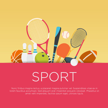Ilustración de Flat design sport concept. Sports equipment background. - Imagen libre de derechos