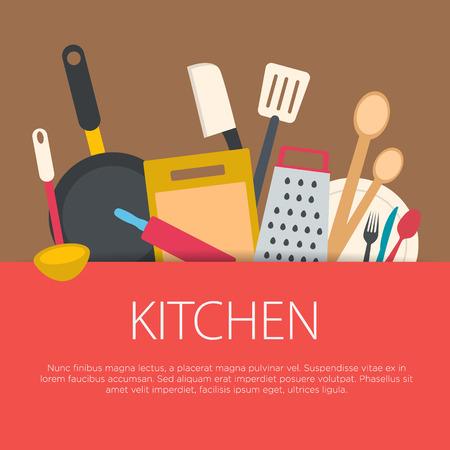 Illustration pour Flat design kitchen concept. Kitchen equipment background. Vector illustration. - image libre de droit