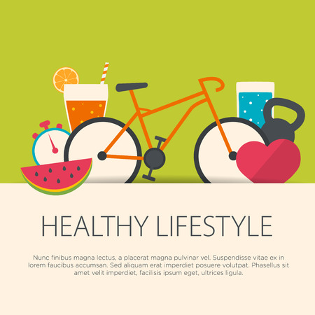 Foto de Healthy lifestyle concept in flat design. Vector illustration. - Imagen libre de derechos
